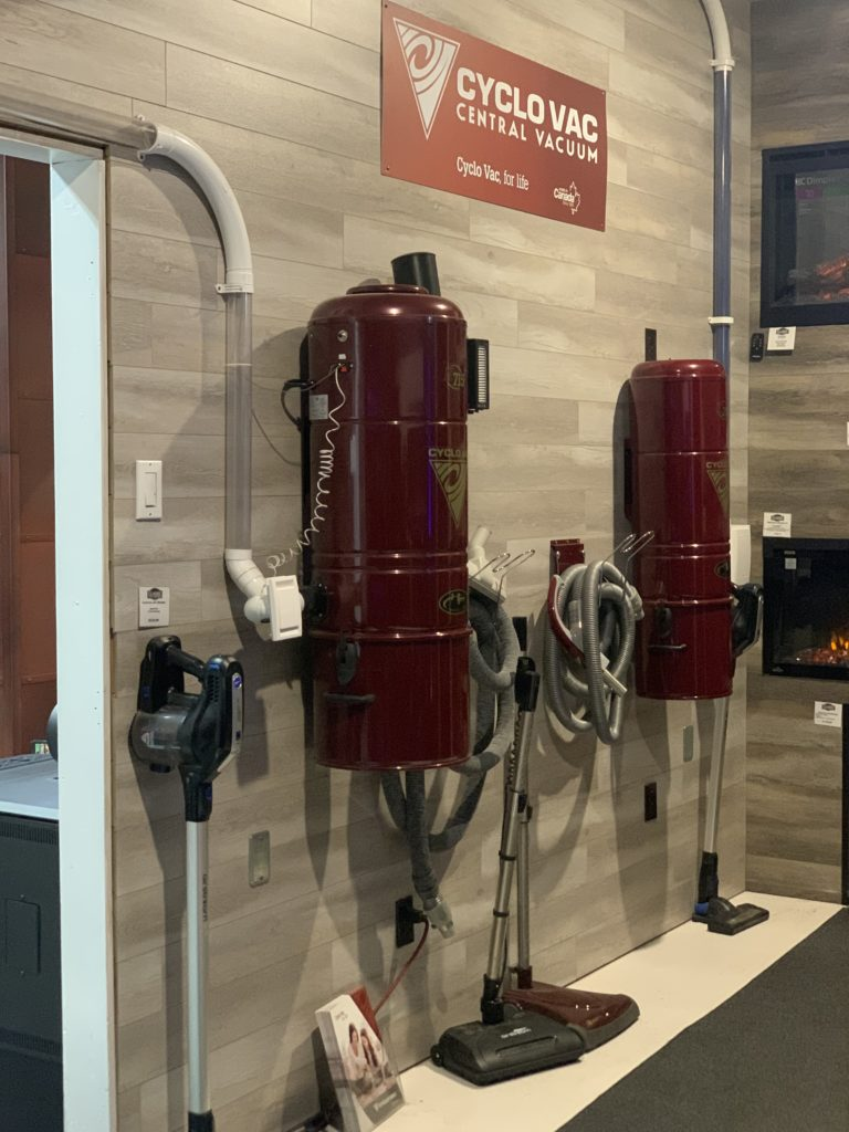 Our cycle vac central vaccuum display in our showroom.